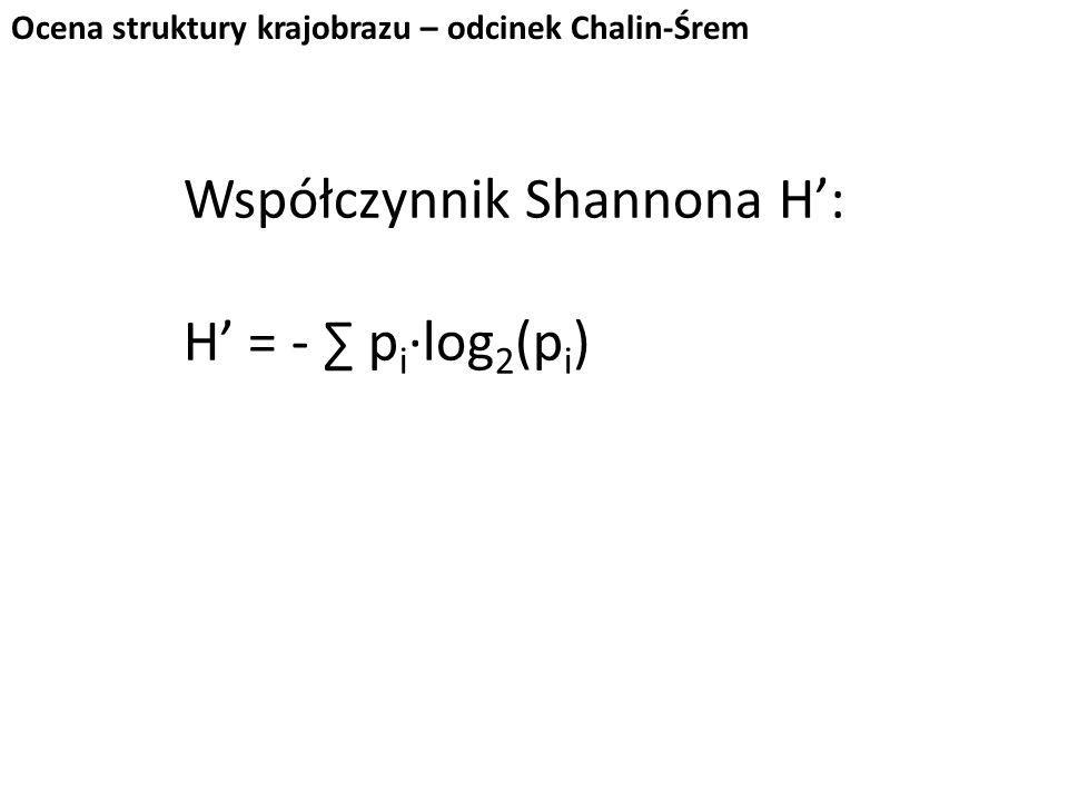 Współczynnik Shannona H': H' = - ∑ p i ∙log 2 (p i ) Ocena struktury krajobrazu – odcinek Chalin-Śrem