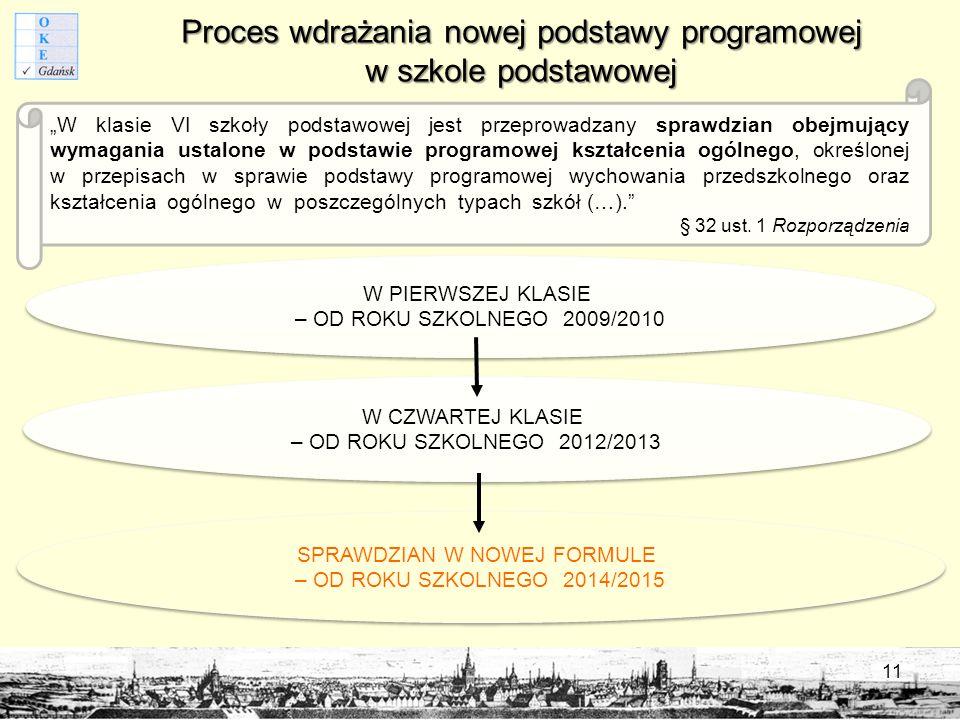 """Proces wdrażania nowej podstawy programowej w szkole podstawowej W CZWARTEJ KLASIE – OD ROKU SZKOLNEGO 2012/2013 SPRAWDZIAN W NOWEJ FORMULE – OD ROKU SZKOLNEGO 2014/2015 W PIERWSZEJ KLASIE – OD ROKU SZKOLNEGO 2009/2010 """"W klasie VI szkoły podstawowej jest przeprowadzany sprawdzian obejmujący wymagania ustalone w podstawie programowej kształcenia ogólnego, określonej w przepisach w sprawie podstawy programowej wychowania przedszkolnego oraz kształcenia ogólnego w poszczególnych typach szkół (…). § 32 ust."""
