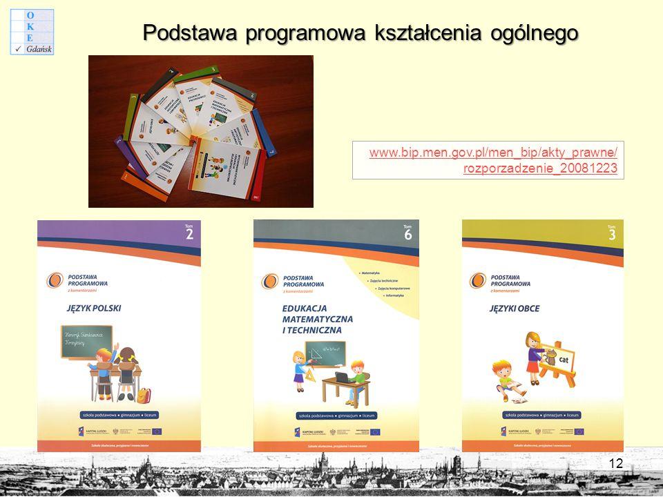 Podstawa programowa kształcenia ogólnego www.bip.men.gov.pl/men_bip/akty_prawne/ rozporzadzenie_20081223 12