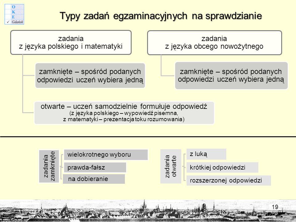 Typy zadań egzaminacyjnych na sprawdzianie zadania z języka polskiego i matematyki zamknięte – spośród podanych odpowiedzi uczeń wybiera jedną otwarte – uczeń samodzielnie formułuje odpowiedź (z języka polskiego – wypowiedź pisemna, z matematyki – prezentacja toku rozumowania) zadania z języka obcego nowożytnego zamknięte – spośród podanych odpowiedzi uczeń wybiera jedną zadania zamknięte wielokrotnego wyboru prawda-fałsz na dobieranie zadania otwarte z luką krótkiej odpowiedzi rozszerzonej odpowiedzi 19