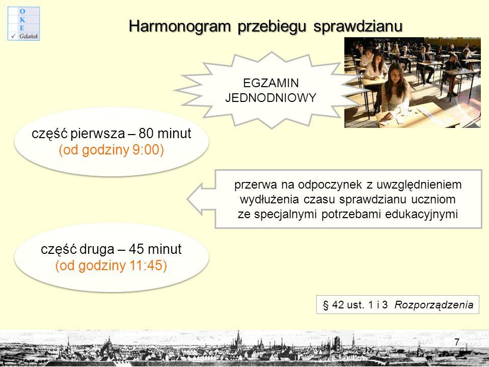 Harmonogram przebiegu sprawdzianu część pierwsza – 80 minut (od godziny 9:00) część druga – 45 minut (od godziny 11:45) przerwa na odpoczynek z uwzględnieniem wydłużenia czasu sprawdzianu uczniom ze specjalnymi potrzebami edukacyjnymi § 42 ust.