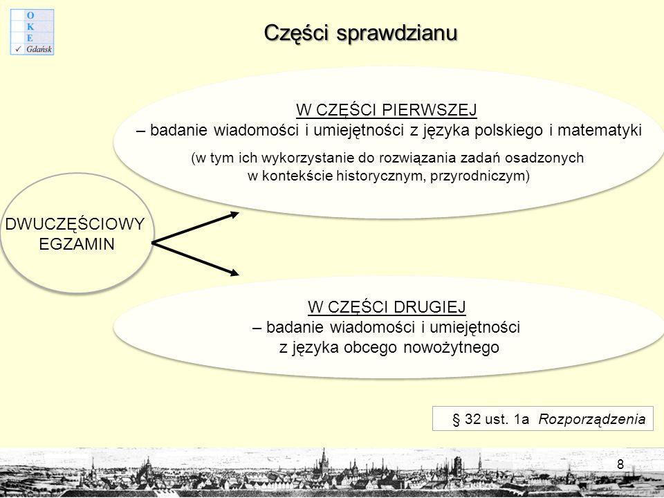 Części sprawdzianu W CZĘŚCI PIERWSZEJ – badanie wiadomości i umiejętności z języka polskiego i matematyki (w tym ich wykorzystanie do rozwiązania zadań osadzonych w kontekście historycznym, przyrodniczym) W CZĘŚCI PIERWSZEJ – badanie wiadomości i umiejętności z języka polskiego i matematyki (w tym ich wykorzystanie do rozwiązania zadań osadzonych w kontekście historycznym, przyrodniczym) W CZĘŚCI DRUGIEJ – badanie wiadomości i umiejętności z języka obcego nowożytnego W CZĘŚCI DRUGIEJ – badanie wiadomości i umiejętności z języka obcego nowożytnego DWUCZĘŚCIOWY EGZAMIN § 32 ust.