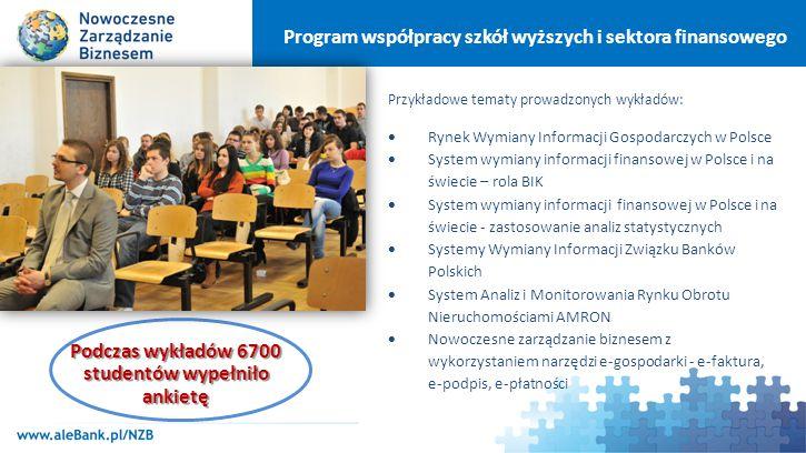 """Program współpracy szkół wyższych i sektora finansowego """"Baza Wiedzy – strona internetowa z materiałami dla pracowników naukowych oraz dla studentów: www.aleBank.pl/NZB"""