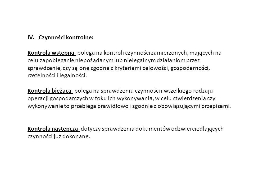 IV.Czynności kontrolne: Kontrola wstępna- polega na kontroli czynności zamierzonych, mających na celu zapobieganie niepożądanym lub nielegalnym działa