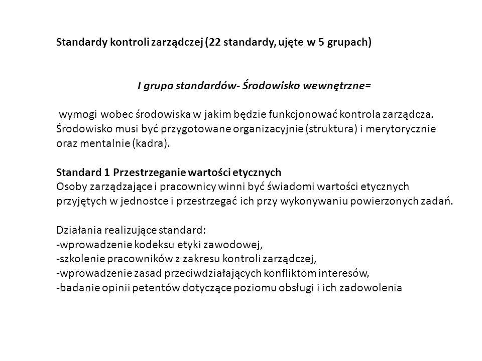 Standardy kontroli zarządczej (22 standardy, ujęte w 5 grupach) I grupa standardów- Środowisko wewnętrzne= wymogi wobec środowiska w jakim będzie funk