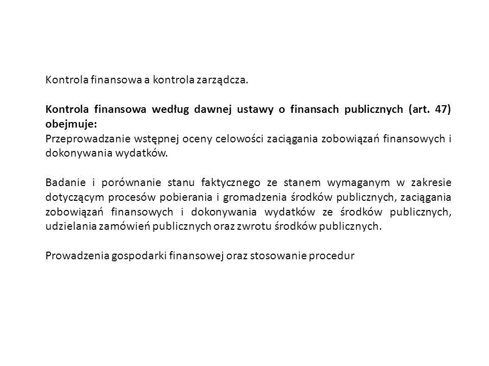 Kontrola zarządcza wg nowej ustawy o finansach publicznych (art.