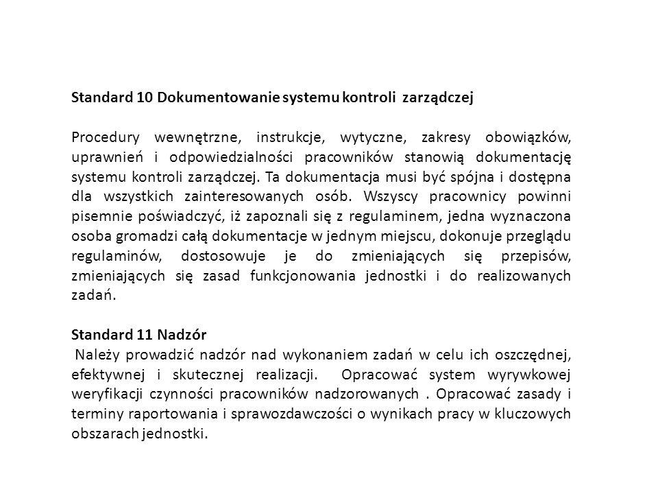 Standard 10 Dokumentowanie systemu kontroli zarządczej Procedury wewnętrzne, instrukcje, wytyczne, zakresy obowiązków, uprawnień i odpowiedzialności p