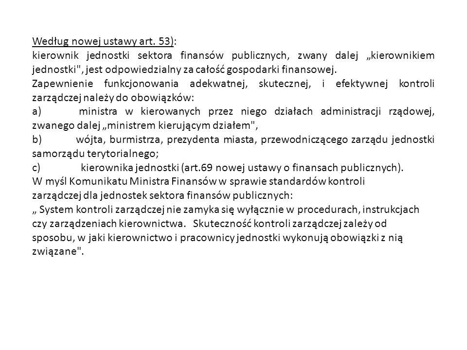 """Według nowej ustawy art. 53): kierownik jednostki sektora finansów publicznych, zwany dalej """"kierownikiem jednostki"""