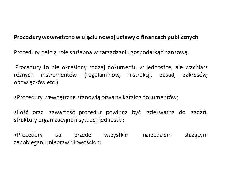 Typowe procedury funkcjonujące w jednostkach organizacyjnych sektora finansów publicznych, w tym m.