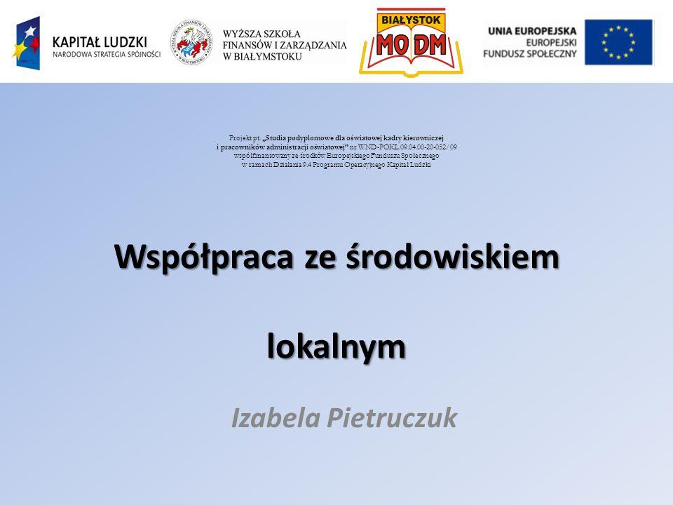 Współpraca ze środowiskiem lokalnym Izabela Pietruczuk Projekt pt.