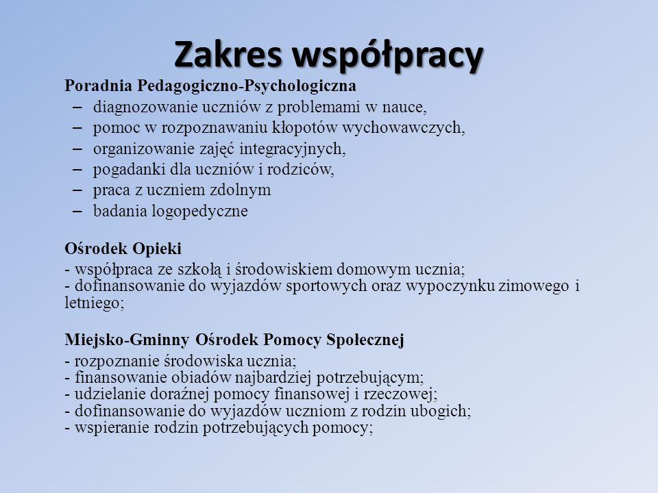 Zakres współpracy Polski Czerwony Krzyż - zajęcia praktyczne dla uczniów i nauczycieli dotyczące umiejętności udzielania pierwszej pomocy; - udział w happeningach zdrowotnych organizowanych w szkole; - wspólna zbiórka darów dla najbardziej potrzebujących Zakład Opieki Zdrowotnej - kontrolowanie stanu zdrowia dzieci i młodzieży szkolnej, - kwalifikowanie dzieci na zajęcia gimnastyki korekcyjno - kompensacyjnej, - zapraszanie pielęgniarki, omawianie spraw związanych z higieną ciała, - kontrola higieny uczniów, - dofinansowanie do konkursów zdrowotnych, - współpraca nauczycieli, uczniów i rodziców w zakresie dbania o profilaktykę jamy ustnej i czystości.