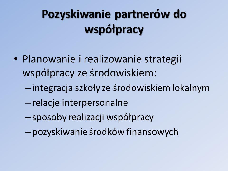 Pozyskiwanie partnerów do współpracy Planowanie i realizowanie strategii współpracy ze środowiskiem: – integracja szkoły ze środowiskiem lokalnym – relacje interpersonalne – sposoby realizacji współpracy – pozyskiwanie środków finansowych