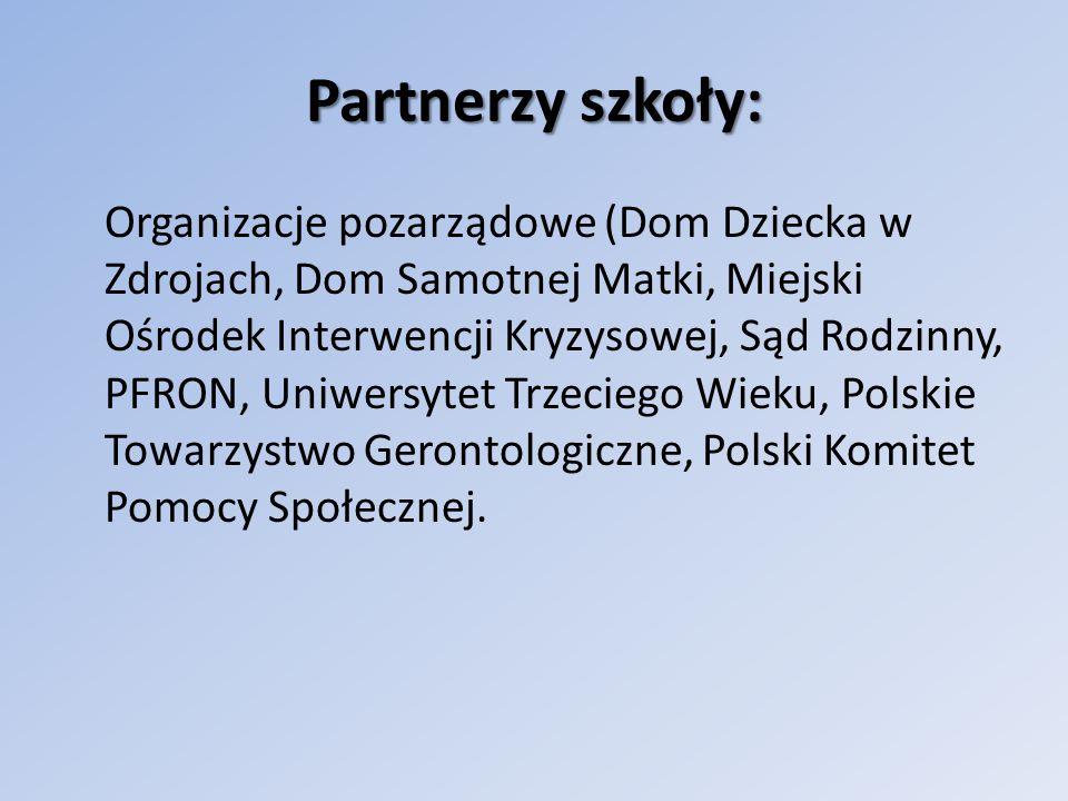 Partnerzy szkoły: Polski Czerwony Krzyż Niepubliczny Zakład Opieki Zdrowotnej Dom Pomocy Społecznej Centra Kultury (Biblioteka Miejska, Biblioteki Osiedlowe, Ogniska Muzyczne, Muzea, Galerie)