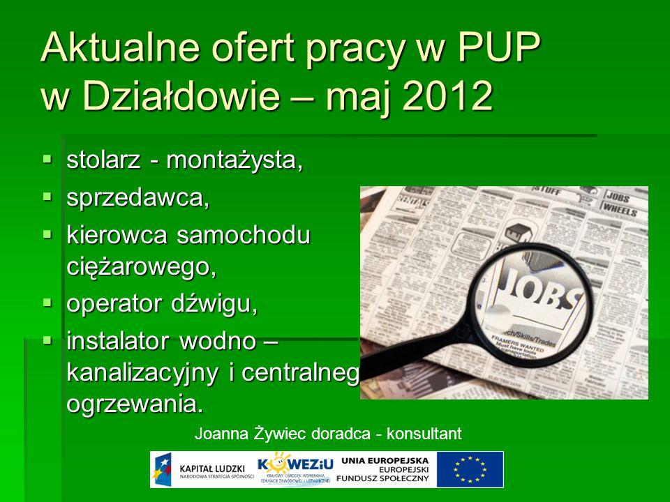 Aktualne ofert pracy w PUP w Działdowie – maj 2012  stolarz - montażysta,  sprzedawca,  kierowca samochodu ciężarowego,  operator dźwigu,  instalator wodno – kanalizacyjny i centralnego ogrzewania.