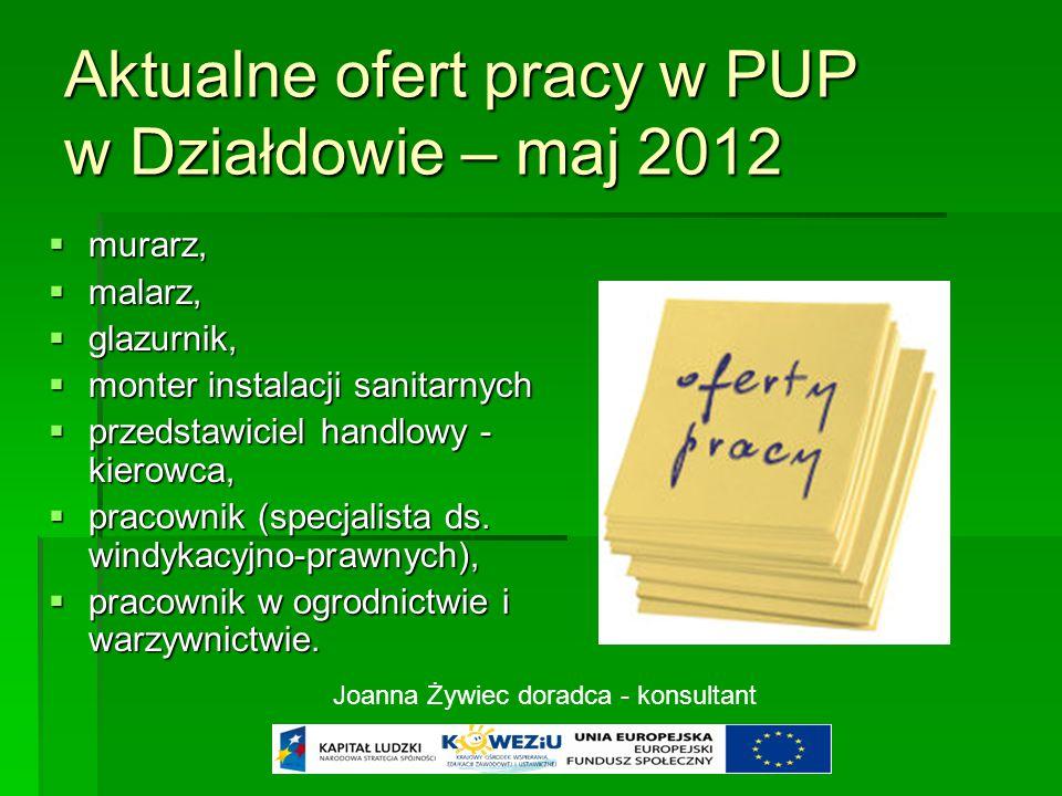 Aktualne ofert pracy w PUP w Działdowie – maj 2012  murarz,  malarz,  glazurnik,  monter instalacji sanitarnych  przedstawiciel handlowy - kierowca,  pracownik (specjalista ds.