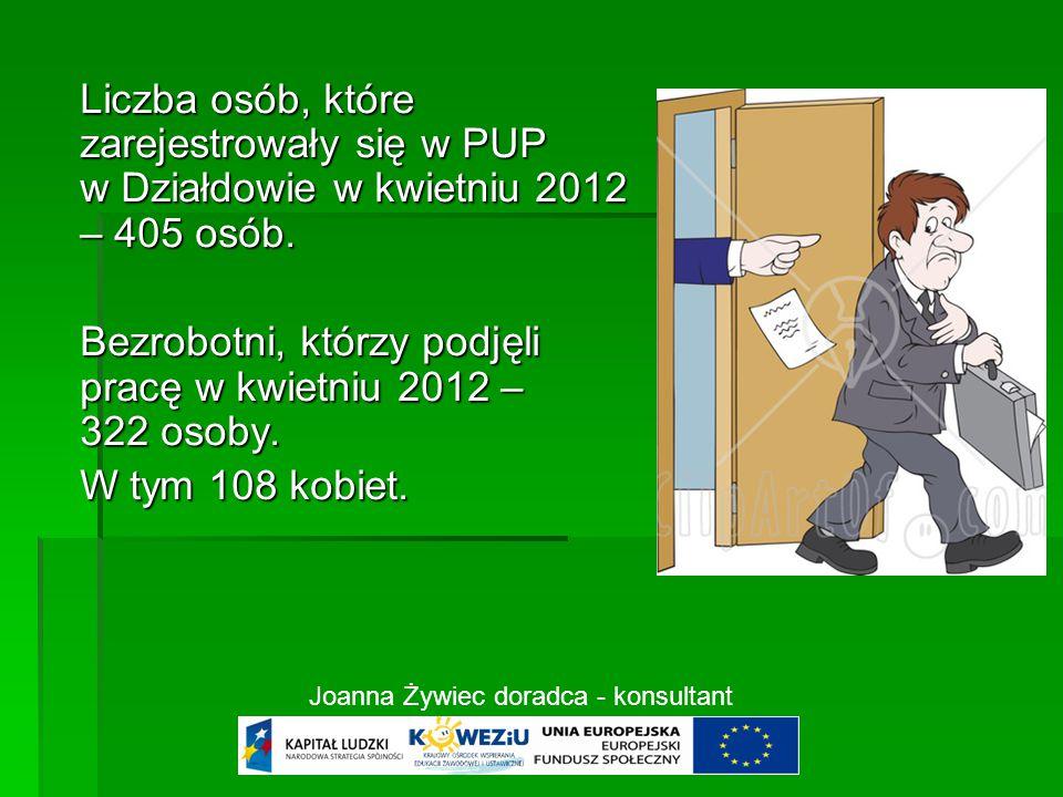 Liczba osób, które zarejestrowały się w PUP w Działdowie w kwietniu 2012 – 405 osób.