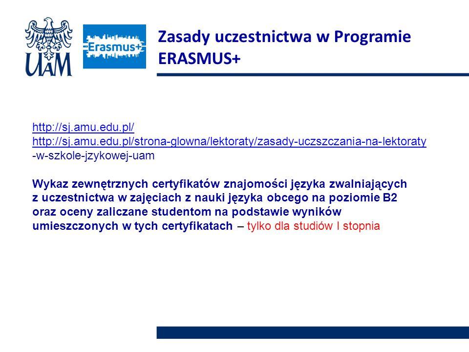 http://sj.amu.edu.pl/ http://sj.amu.edu.pl/strona-glowna/lektoraty/zasady-uczszczania-na-lektoraty -w-szkole-jzykowej-uam Wykaz zewnętrznych certyfikatów znajomości języka zwalniających z uczestnictwa w zajęciach z nauki języka obcego na poziomie B2 oraz oceny zaliczane studentom na podstawie wyników umieszczonych w tych certyfikatach – tylko dla studiów I stopnia Zasady uczestnictwa w Programie ERASMUS+
