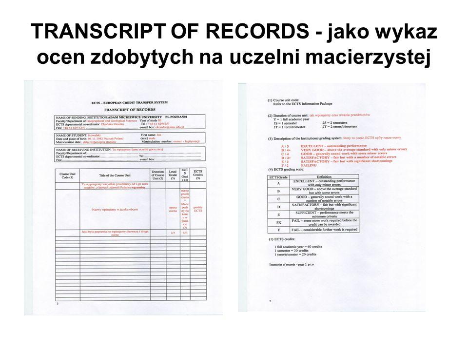 TRANSCRIPT OF RECORDS - jako wykaz ocen zdobytych na uczelni macierzystej