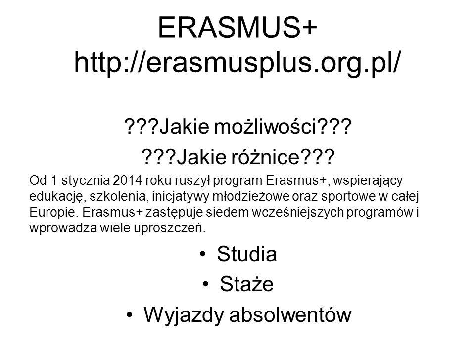 ERASMUS+ http://erasmusplus.org.pl/ ???Jakie możliwości??.