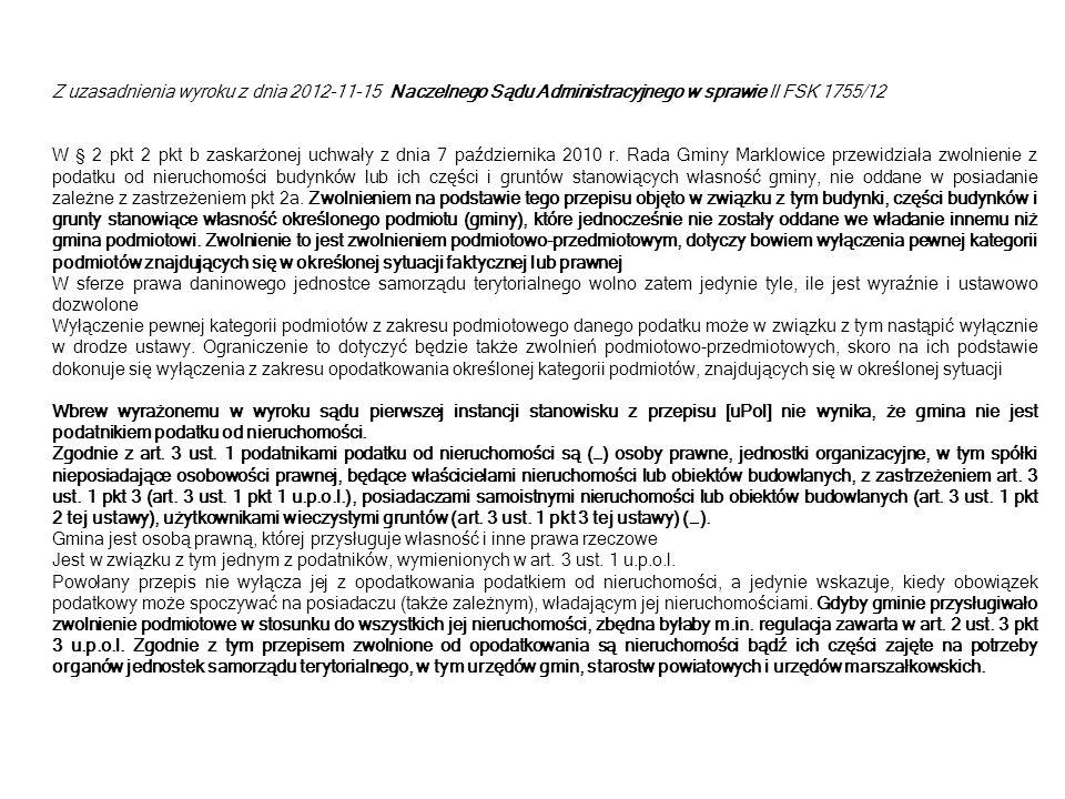 Inne wybrane przykłady orzecznictwa: Uchwała Regionalnej Izby Obrachunkowej w Katowicach z dnia 22 października 2012 r.