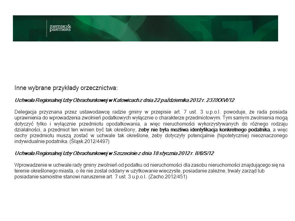 Wybrane przykłady orzecznictwa: Uchwała Regionalnej Izby Obrachunkowej w Poznaniu z dnia 12 stycznia 2012 r.