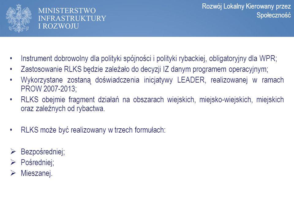 Zasady programowania perspektywy 2014-2020 Instrument dobrowolny dla polityki spójności i polityki rybackiej, obligatoryjny dla WPR; Zastosowanie RLKS