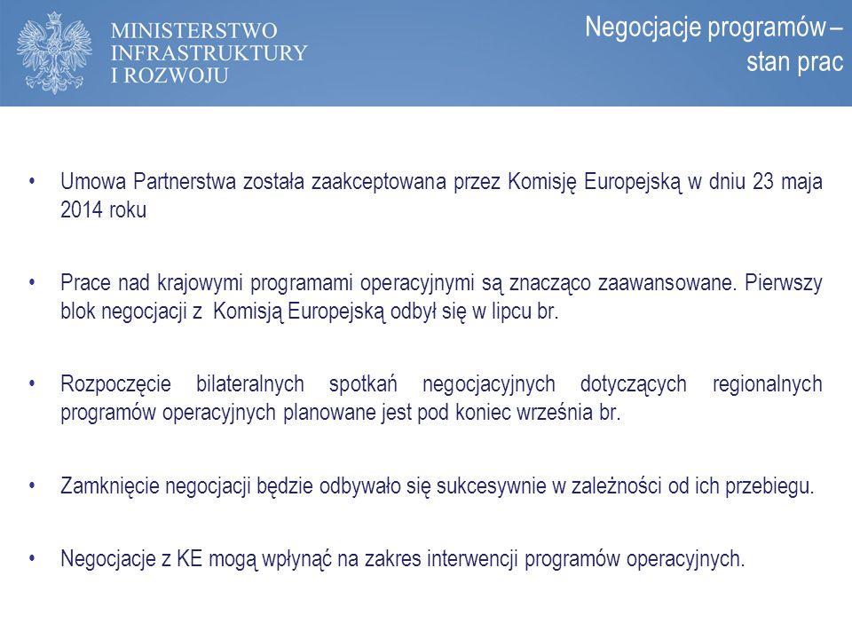 Zasady programowania perspektywy 2014-2020 Umowa Partnerstwa została zaakceptowana przez Komisję Europejską w dniu 23 maja 2014 roku Prace nad krajowy