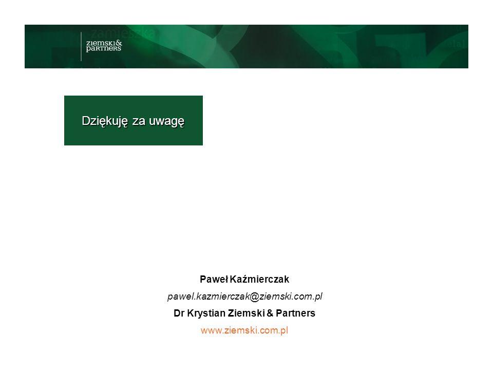 Dziękuję za uwagę Paweł Kaźmierczak pawel.kazmierczak@ziemski.com.pl Dr Krystian Ziemski & Partners www.ziemski.com.pl
