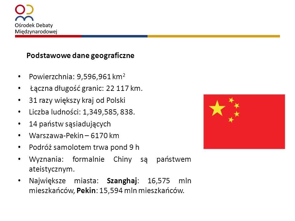 Podstawowe dane geograficzne Powierzchnia: 9,596,961 km 2 Łączna długość granic: 22 117 km. 31 razy większy kraj od Polski Liczba ludności: 1,349,585,