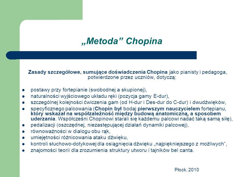 """Płock, 2010 """"Metoda"""" Chopina Zasady szczegółowe, sumujące doświadczenia Chopina jako pianisty i pedagoga, potwierdzone przez uczniów, dotyczą: postawy"""