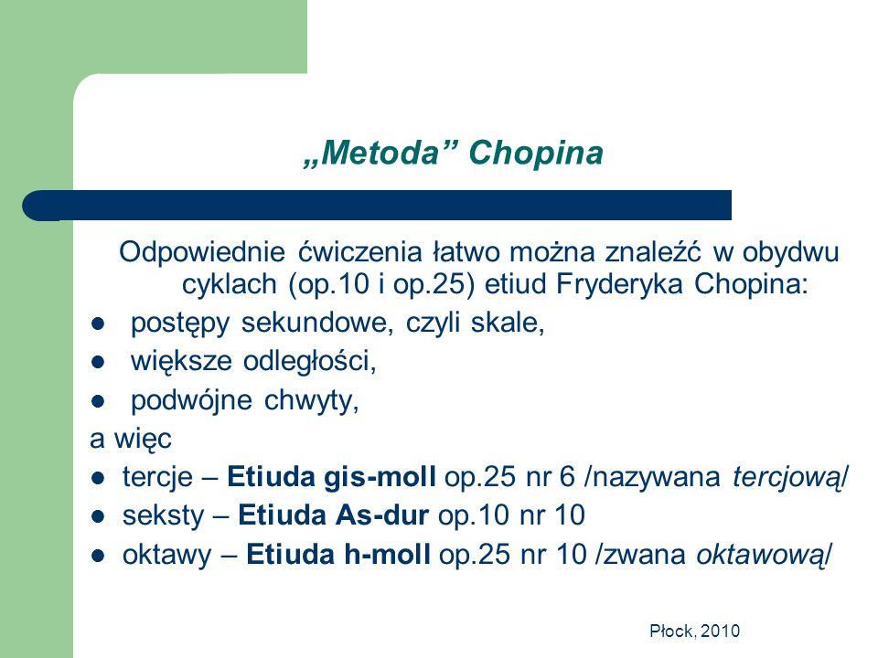 """Płock, 2010 """"Metoda"""" Chopina Odpowiednie ćwiczenia łatwo można znaleźć w obydwu cyklach (op.10 i op.25) etiud Fryderyka Chopina: postępy sekundowe, cz"""