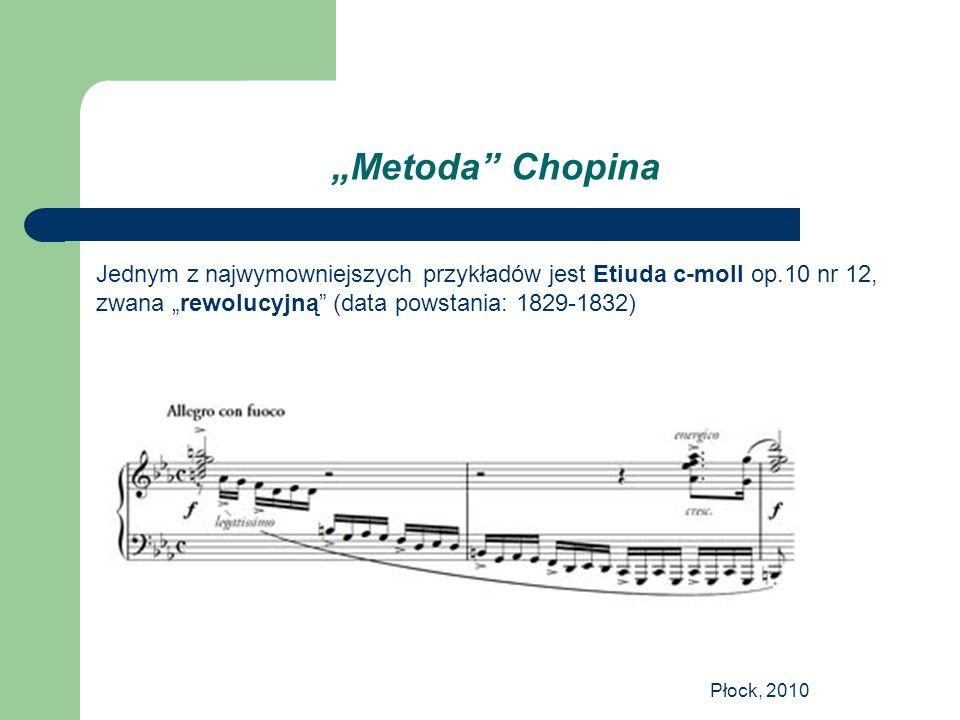 """Płock, 2010 """"Metoda"""" Chopina Jednym z najwymowniejszych przykładów jest Etiuda c-moll op.10 nr 12, zwana """"rewolucyjną"""" (data powstania: 1829-1832)"""