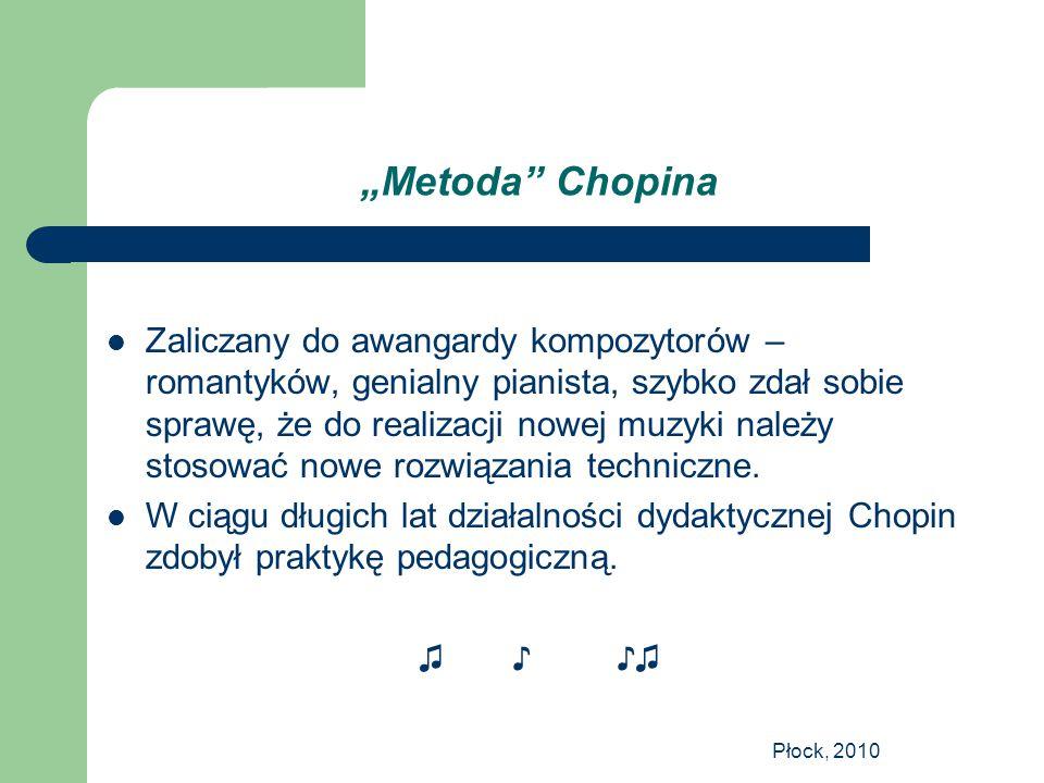 """Płock, 2010 """"Metoda"""" Chopina Zaliczany do awangardy kompozytorów – romantyków, genialny pianista, szybko zdał sobie sprawę, że do realizacji nowej muz"""