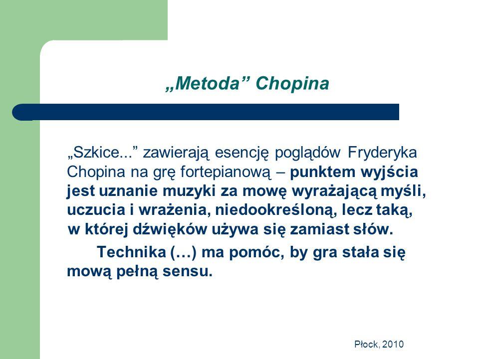 """Płock, 2010 """"Metoda"""" Chopina """"Szkice..."""" zawierają esencję poglądów Fryderyka Chopina na grę fortepianową – punktem wyjścia jest uznanie muzyki za mow"""