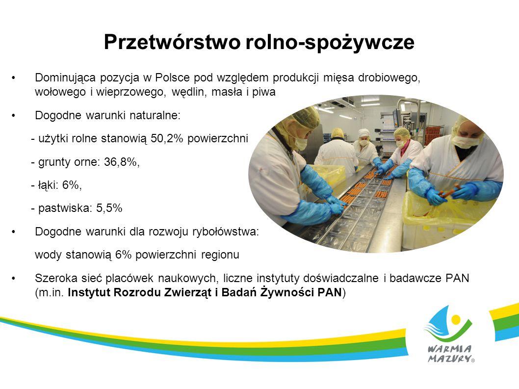 Przetwórstwo rolno-spożywcze Dominująca pozycja w Polsce pod względem produkcji mięsa drobiowego, wołowego i wieprzowego, wędlin, masła i piwa Dogodne