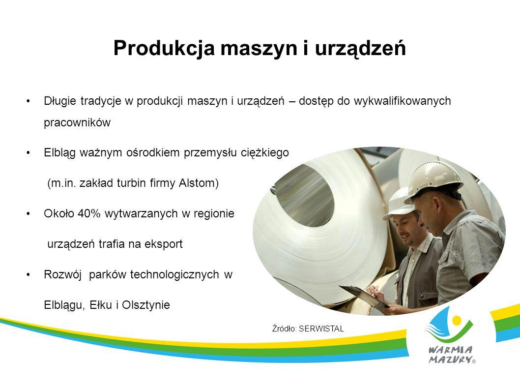 Produkcja maszyn i urządzeń Długie tradycje w produkcji maszyn i urządzeń – dostęp do wykwalifikowanych pracowników Elbląg ważnym ośrodkiem przemysłu
