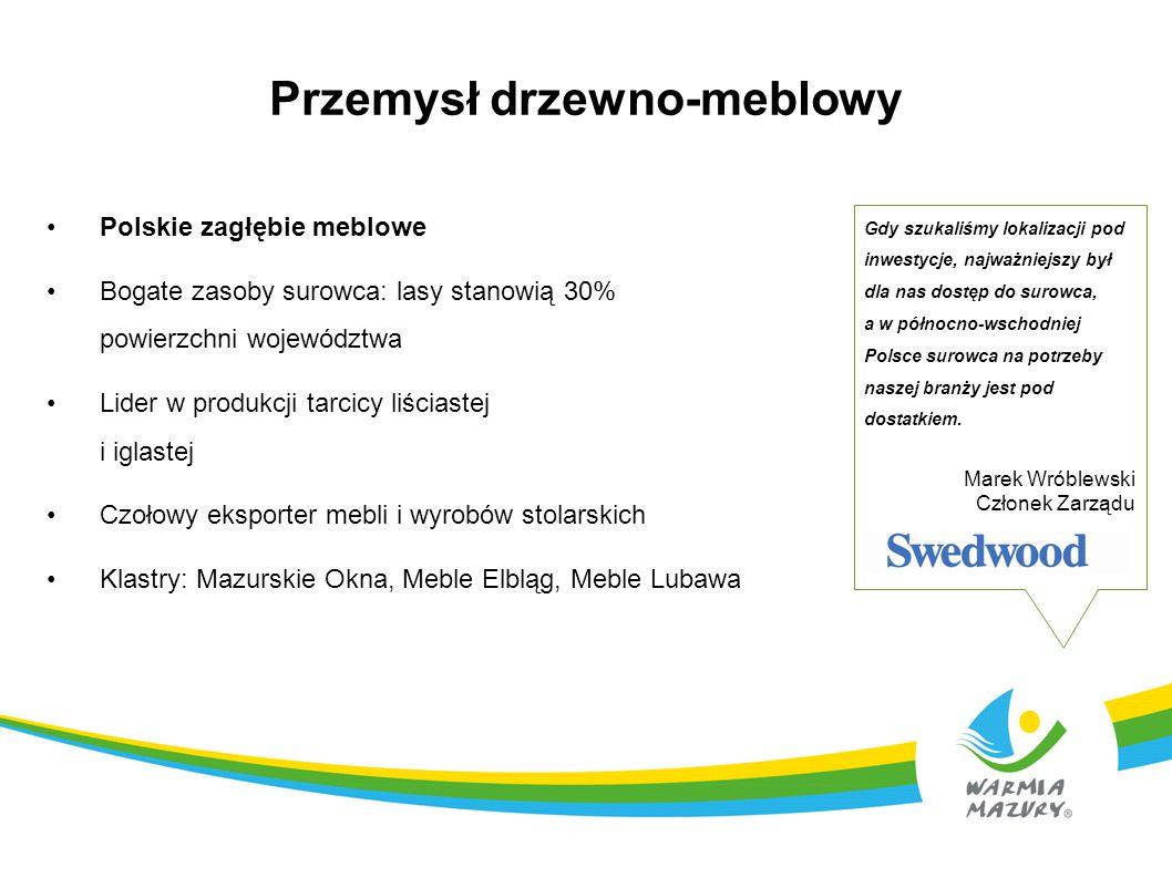 Przemysł drzewno-meblowy Polskie zagłębie meblowe Bogate zasoby surowca: lasy stanowią 30% powierzchni województwa Lider w produkcji tarcicy liściaste