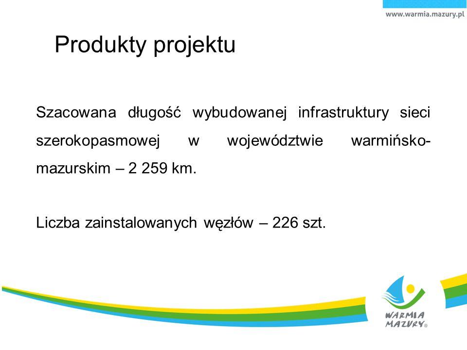 Produkty projektu Szacowana długość wybudowanej infrastruktury sieci szerokopasmowej w województwie warmińsko- mazurskim – 2 259 km. Liczba zainstalow