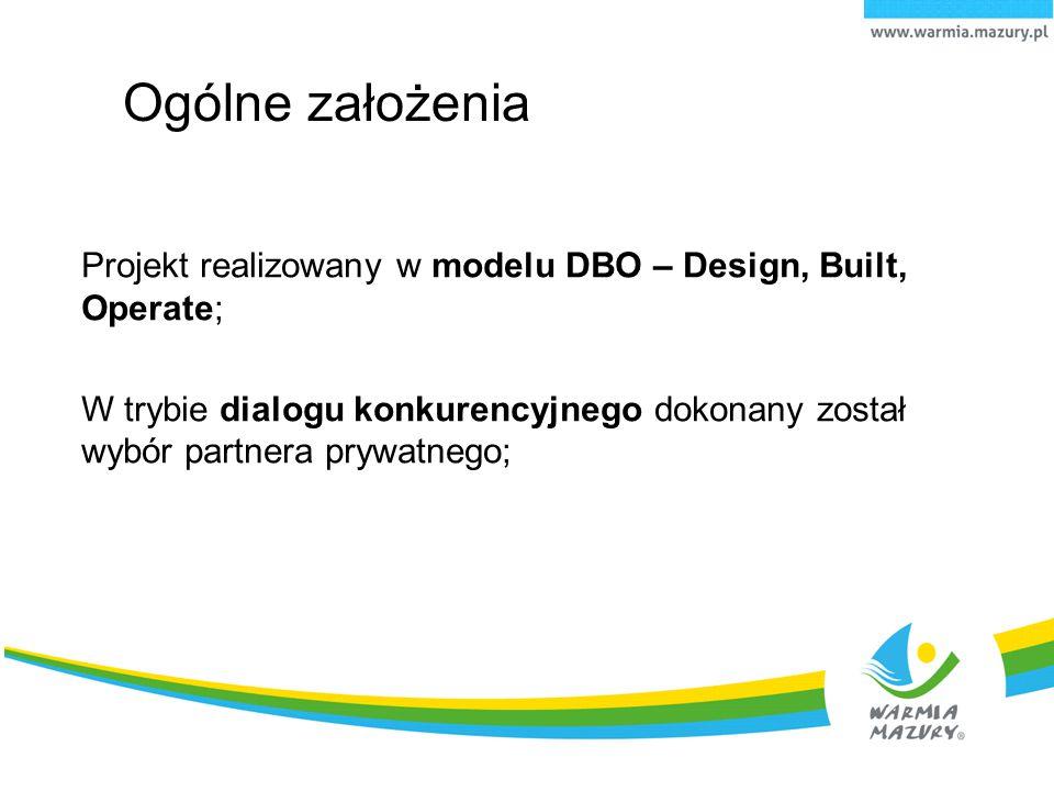 Ogólne założenia Projekt realizowany w modelu DBO – Design, Built, Operate; W trybie dialogu konkurencyjnego dokonany został wybór partnera prywatnego