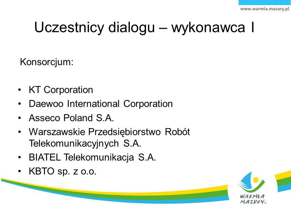Uczestnicy dialogu – wykonawca I Konsorcjum: KT Corporation Daewoo International Corporation Asseco Poland S.A. Warszawskie Przedsiębiorstwo Robót Tel