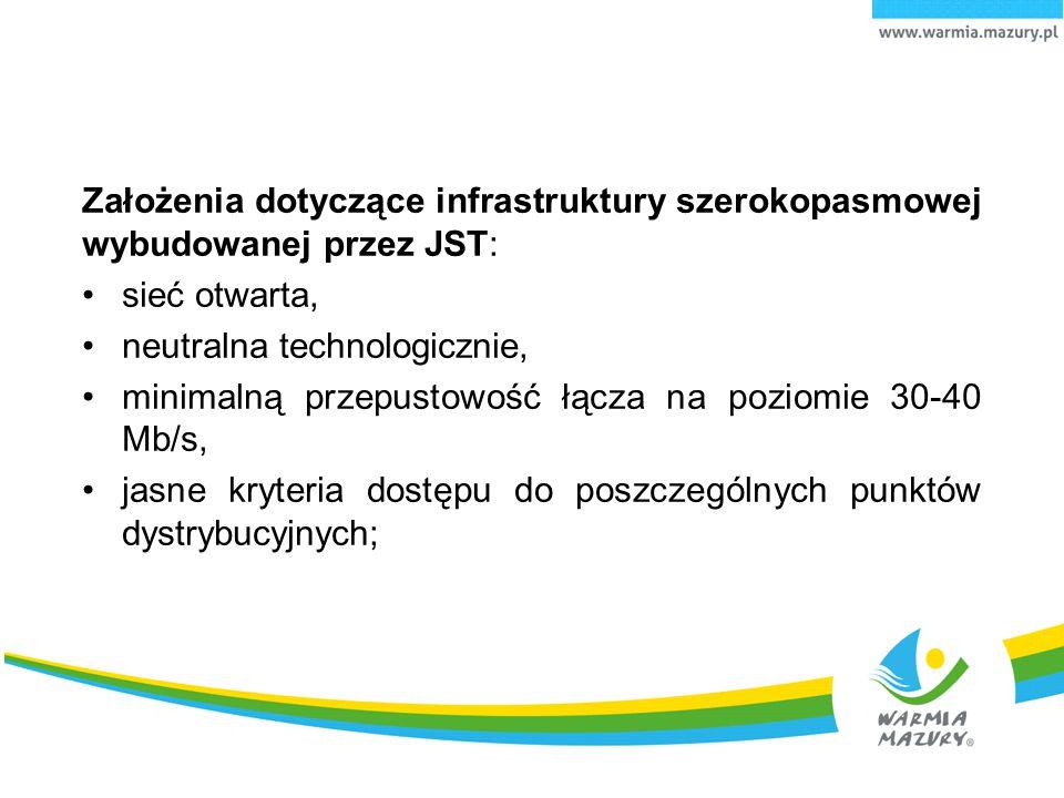 Założenia dotyczące infrastruktury szerokopasmowej wybudowanej przez JST: sieć otwarta, neutralna technologicznie, minimalną przepustowość łącza na po