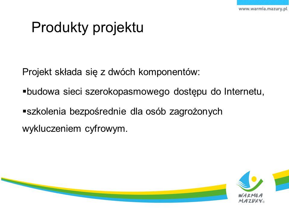 Produkty projektu Projekt składa się z dwóch komponentów:  budowa sieci szerokopasmowego dostępu do Internetu,  szkolenia bezpośrednie dla osób zagr