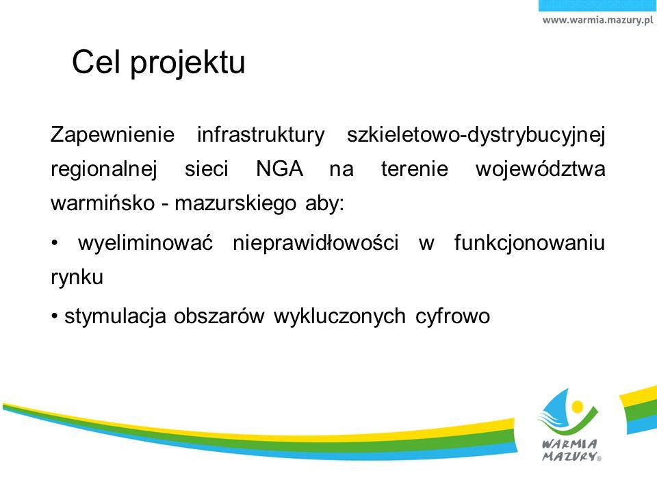 Cel projektu Zapewnienie infrastruktury szkieletowo-dystrybucyjnej regionalnej sieci NGA na terenie województwa warmińsko - mazurskiego aby: wyelimino
