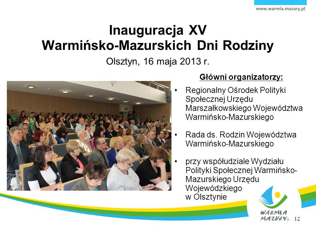 Olsztyn, 16 maja 2013 r. Główni organizatorzy: Regionalny Ośrodek Polityki Społecznej Urzędu Marszałkowskiego Województwa Warmińsko-Mazurskiego Rada d