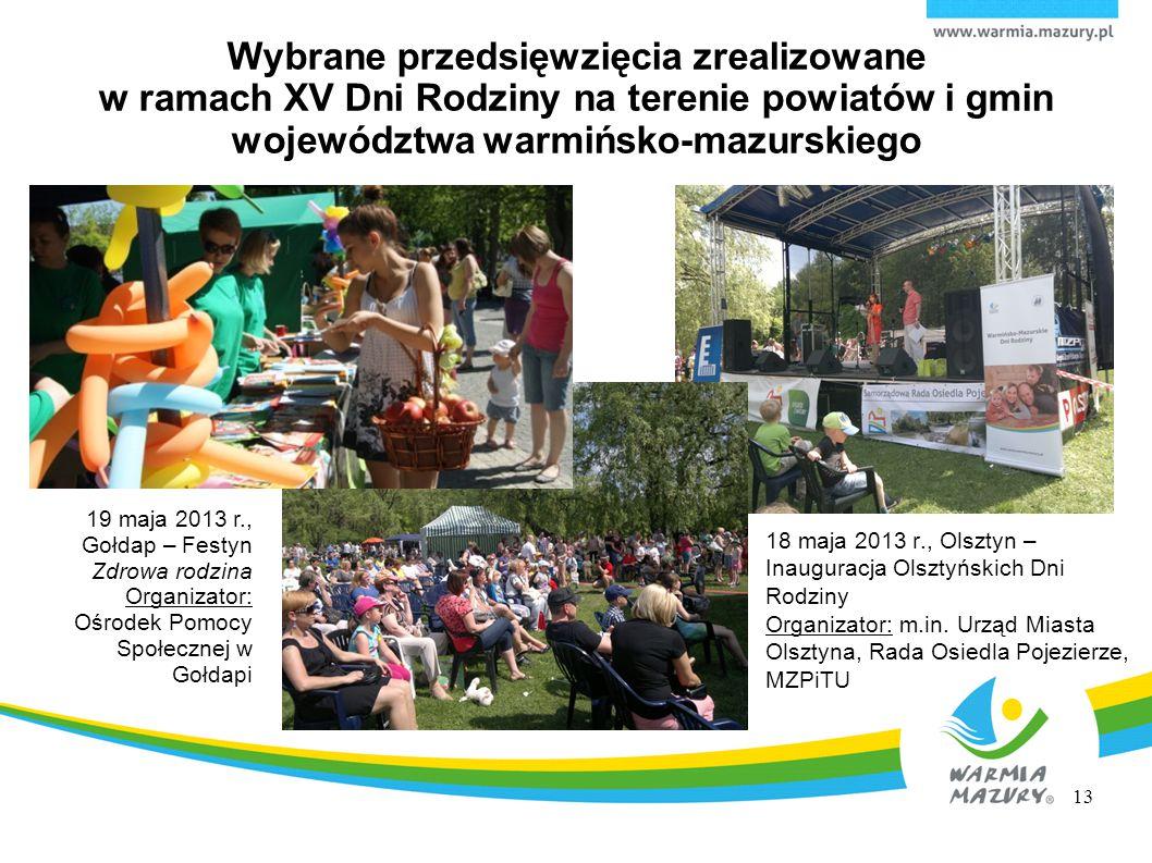 Wybrane przedsięwzięcia zrealizowane w ramach XV Dni Rodziny na terenie powiatów i gmin województwa warmińsko-mazurskiego 18 maja 2013 r., Olsztyn – I