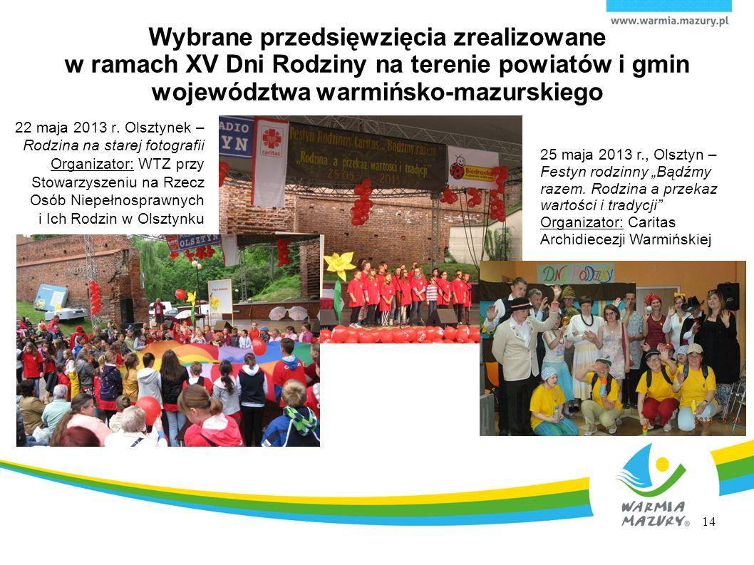 Wybrane przedsięwzięcia zrealizowane w ramach XV Dni Rodziny na terenie powiatów i gmin województwa warmińsko-mazurskiego 22 maja 2013 r. Olsztynek –