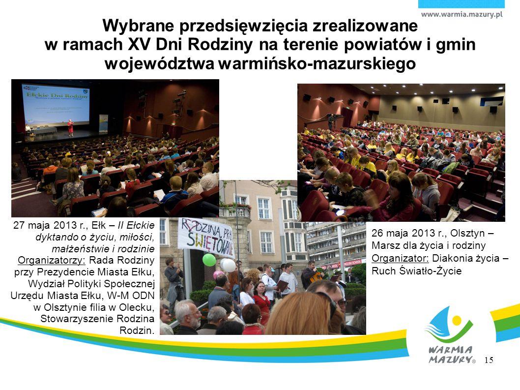Wybrane przedsięwzięcia zrealizowane w ramach XV Dni Rodziny na terenie powiatów i gmin województwa warmińsko-mazurskiego 26 maja 2013 r., Olsztyn – M