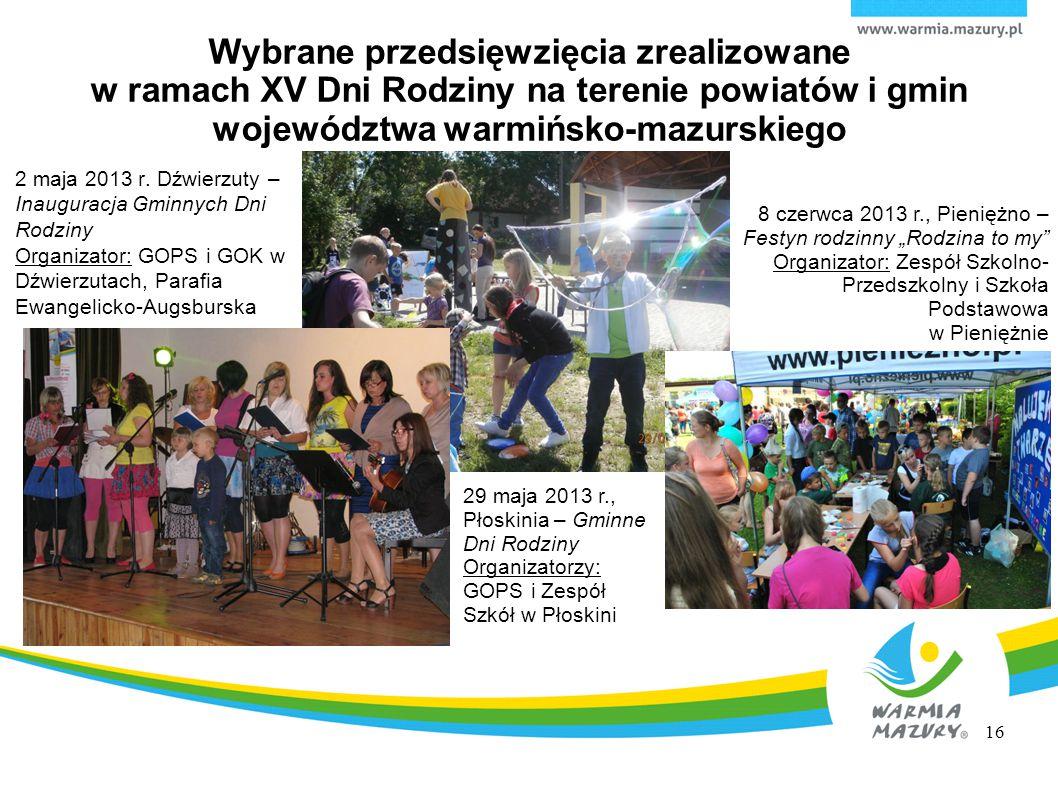 Wybrane przedsięwzięcia zrealizowane w ramach XV Dni Rodziny na terenie powiatów i gmin województwa warmińsko-mazurskiego 2 maja 2013 r. Dźwierzuty –