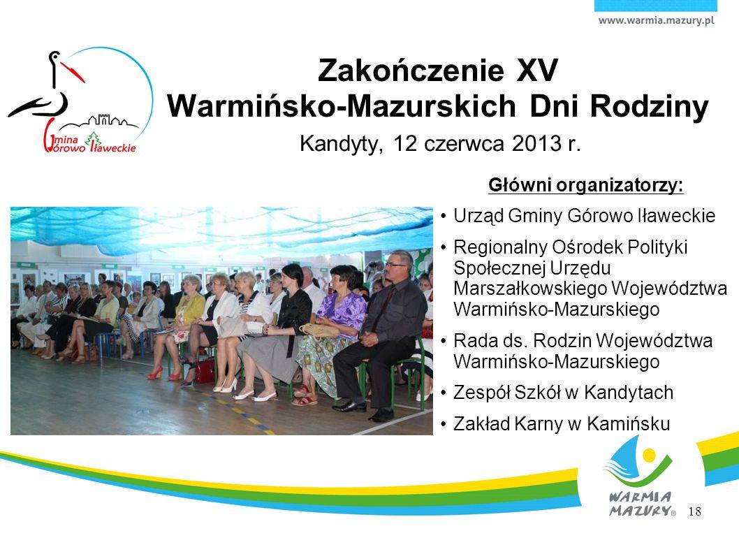Kandyty, 12 czerwca 2013 r. Główni organizatorzy: Urząd Gminy Górowo Iławeckie Regionalny Ośrodek Polityki Społecznej Urzędu Marszałkowskiego Wojewódz