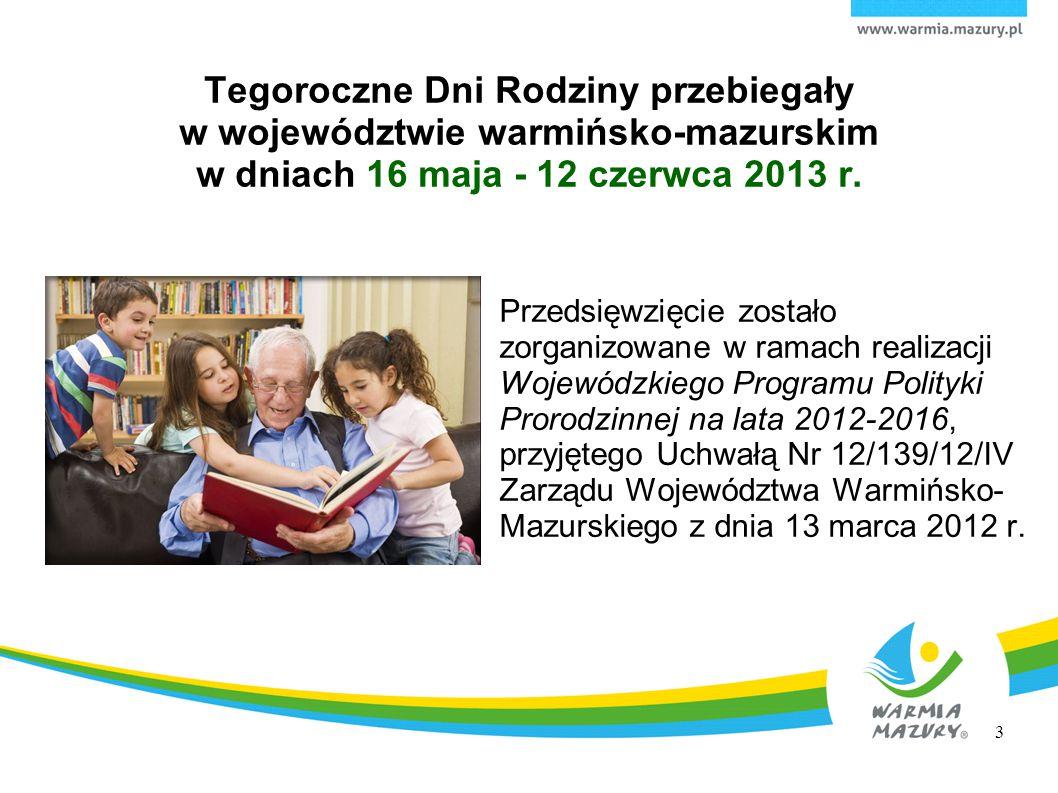 Tegoroczne Dni Rodziny przebiegały w województwie warmińsko-mazurskim w dniach 16 maja - 12 czerwca 2013 r. Przedsięwzięcie zostało zorganizowane w ra